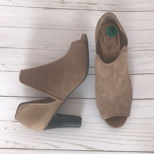 Tan open toe heeled boots booties 8